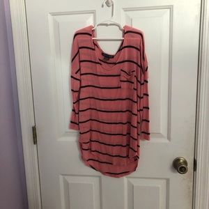 Pink and black half sleeved striped top